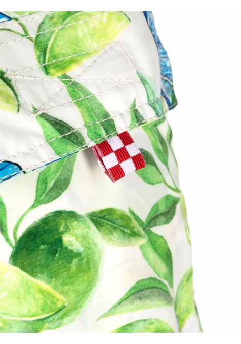 Pantaloncini da bagno blu e lime con stampa grafica bottiglie di Gin MC2 | Costumi | GUSTAVIA-GIN LIME01