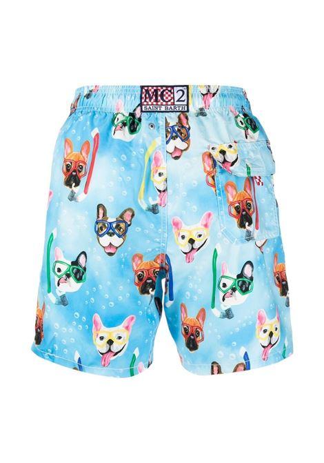 Pantaloncini da bagno blu multicolor Gustavia Bulldog MC2 | Costumi | GUSTAVIA-SNORKELING BULLDOG31