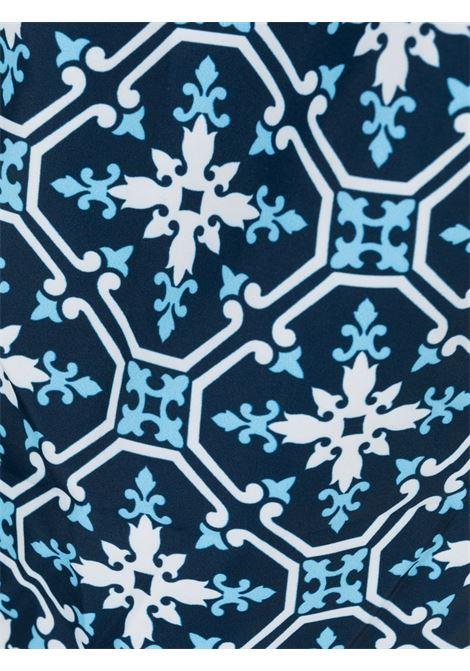 Costume da bagno blu in poliestere riciclato con stampa Maiolica MC2 | Costumi | LIGHTING 70-ACAPULCO6131