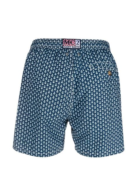 Navy blue and white recycled polyester anchor-print swim shorts  MC2 |  | LIGHTING MICRO FANTASY-ANCHOR TIE61