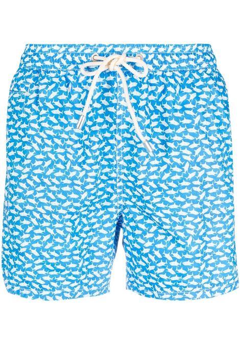 Shorts da bagno blu cielo e bianco con stampa Squali MC2 | Costumi | LIGHTING MICRO FANTASY-BALIKA3117