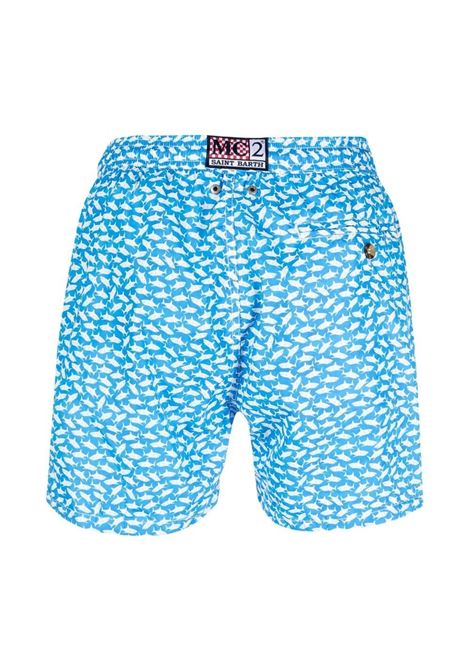 Sky blue and white recycled material shark-print swim shorts MC2 |  | LIGHTING MICRO FANTASY-BALIKA3117