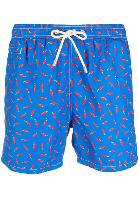Egyptian blue recycled polyester swim shorts with Red Chili print MC2 |  | LIGHTING MICRO FANTASY-CHILI P17