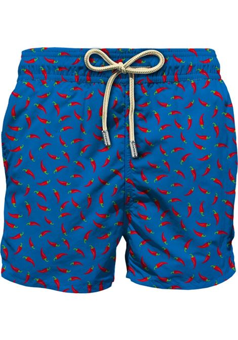 Shorts da bagno in poliestere riciclato blu egiziano con stampa Red Chili MC2 | Costumi | LIGHTING MICRO FANTASY-CHILI P17