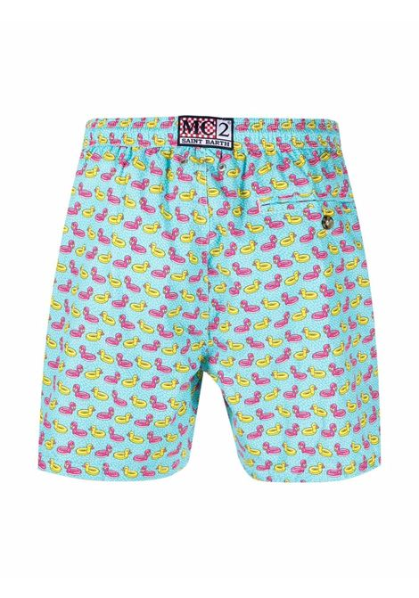 Turquoise-blue,pink and yellow stretch-recycled polyester swim shorts  MC2 |  | LIGHTING MICRO FANTASY-DUCKY FLAMINGO56