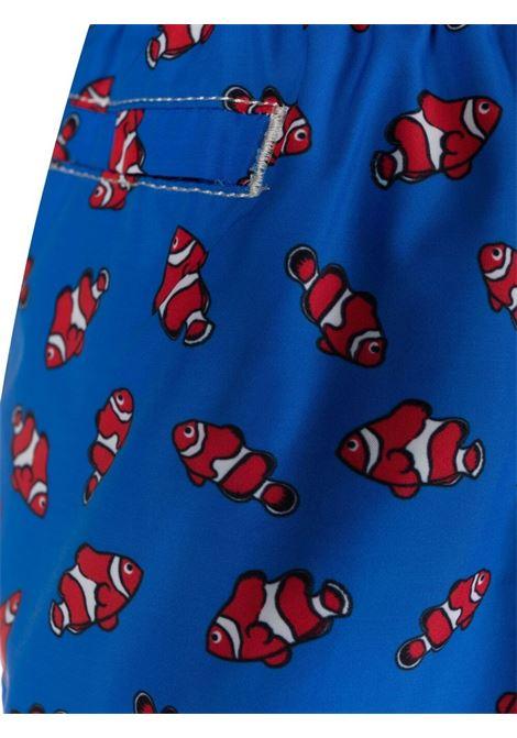Pantaloncini da bagno blu royal con stampa pesciolini rossi in materiale riciclato MC2 | Costumi | LIGHTING MICRO FANTASY-FISHY17