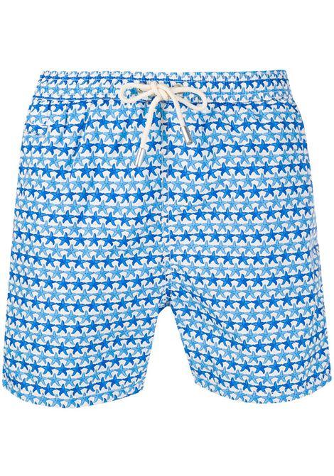 Shorts da bagno blu e bianchi con stampa di stelle marine in poliestere riciclato MC2 | Costumi | LIGHTING MICRO FANTASY-FRIENDLY STARFISH01