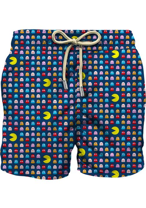 Pantaloncini da bagno in materiale riciclato blu navy in stampa Pacman MC2 | Costumi | LIGHTING MICRO FANTASY-HUNGRY MINI61