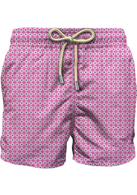 Pink swim shorts featuring Buttons print MC2 |  | LIGHTING MICRO FANTASY-RHOMBOID CROSS21