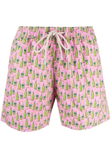 Pink and green Sprite print swim shorts  MC2 |  | LIGHTING MICRO FANTASY-SPRITE MINI21