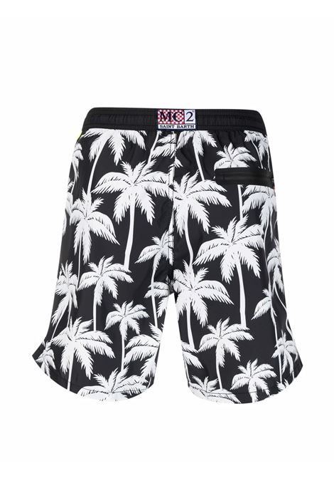 Black and white recycled polyester  swim shorts featuring palm tree print MC2 |  | LIGHTING SUBMARINE-PALMERA0001