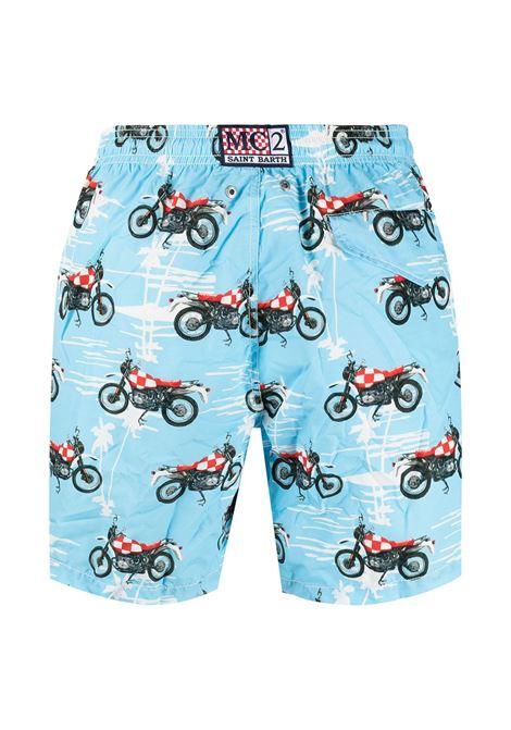 Light blue Biker print swim shorts  MC2 |  | LIGHTING-SPEEDY MOTORBIKE31