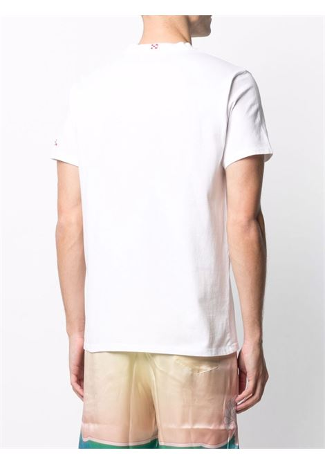 T-shirt in cotone bianco con ricamo rosso Caprese Doc MC2 | T-shirt | PORTOFINO-EMB CAPRESE01N