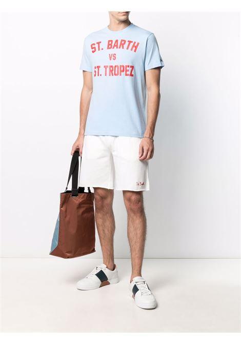 Shorts in cotone bianco e rosso con logo MC2 ricamato MC2 | Bermuda | RANDLE F01