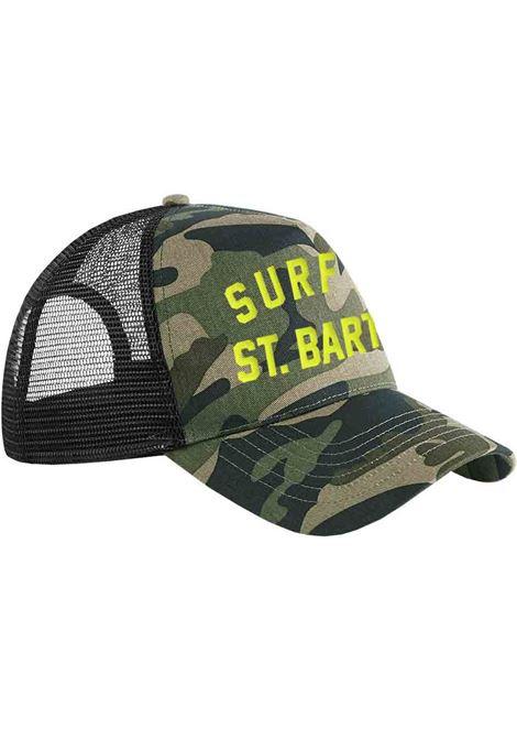 Camo green cotton baseball hat with neon yellow Mc2 Saint Barth logo  MC2 |  | STANTON-EMB SURF SB5494