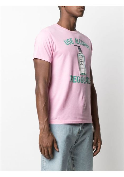 T-shirt in cotone rosa con stampa grafica Use Alcohol Regularly MC2 | T-shirt | TSHIRT-ALCOHOL GIN21