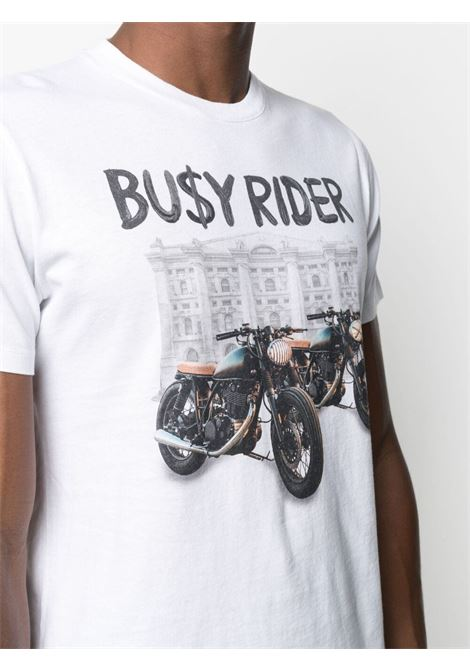T-shirt Busy Rider in cotone bianco MC2 | T-shirt | TSHIRT-BUSY RIDER01N