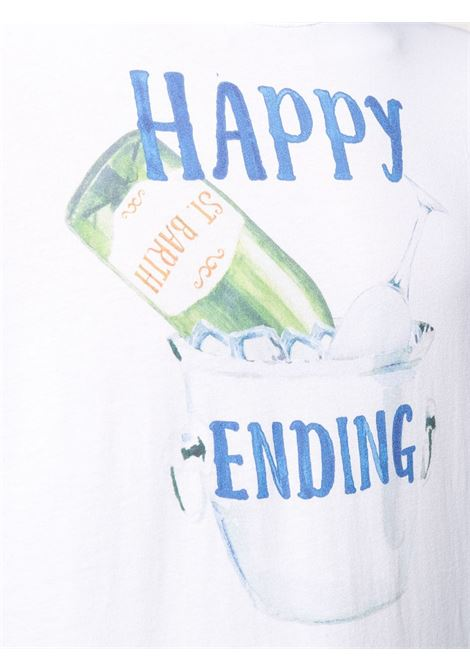 T-shirt in cotone bianco con stampa Happy Ending MC2 | T-shirt | TSHIRT-HAPPY ENDING01N