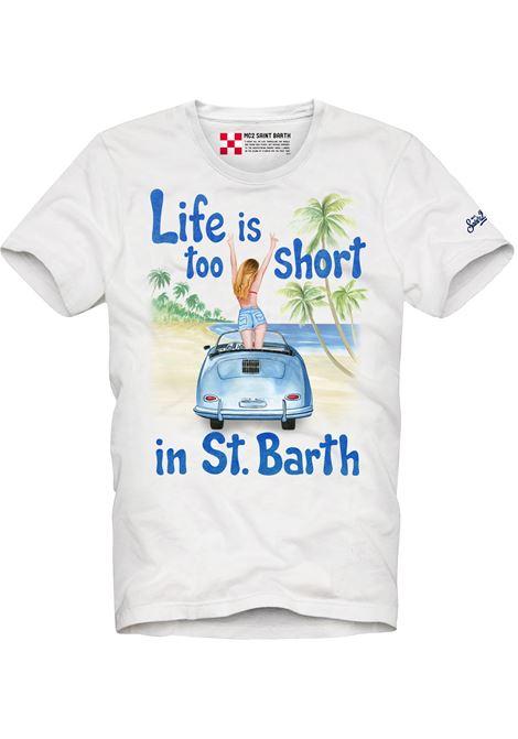 White cotton T-shirt featuring light blue graphic print MC2 |  | TSHIRT-LIFE SHORT01N