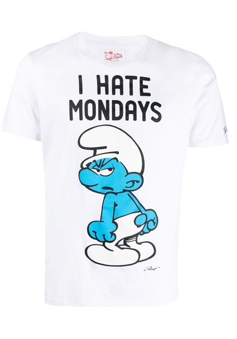 T-shirt I hate mondays con stampa Puffi in cotone bianco MC2 | T-shirt | TSHIRT-MONDAY SMURF01N