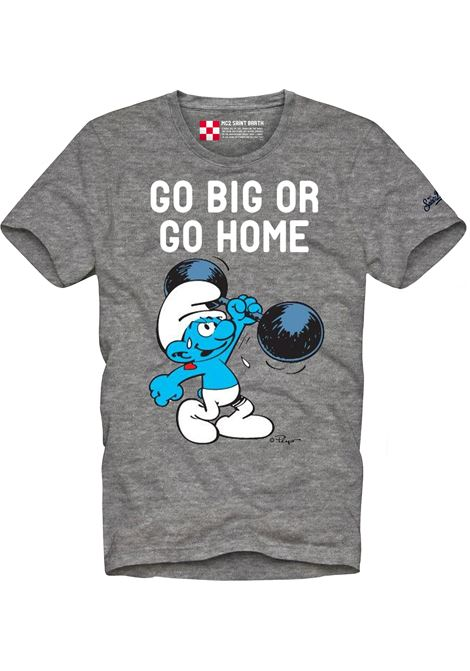 T-shirt Go Big or go home in cotone grigio con stampa Puffi MC2 | T-shirt | TSHIRT-STRONG SMURF15M