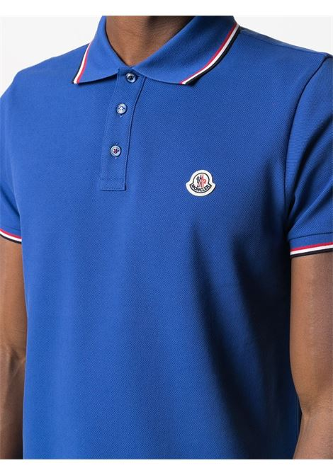Electric-blue cotton short-sleeve polo shirt from featuring Moncler logo patch MONCLER |  | 8A703-00-84556708
