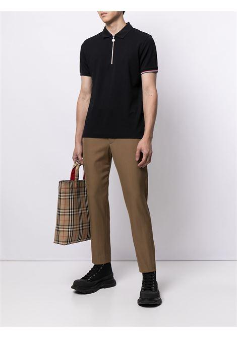 Dark blue cotton zip-up short-sleeve polo shirt   MONCLER |  | 8A727-00-84556773