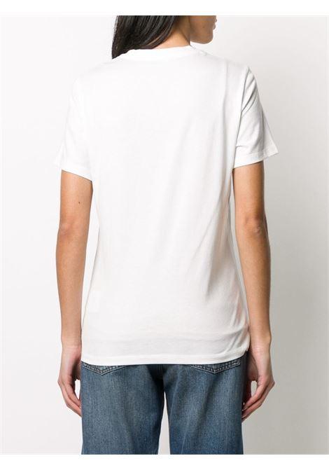 t.shirt in cotone bianco con logo lettering Moncler color oro MONCLER | T-shirt | 8C715-10-V8094033