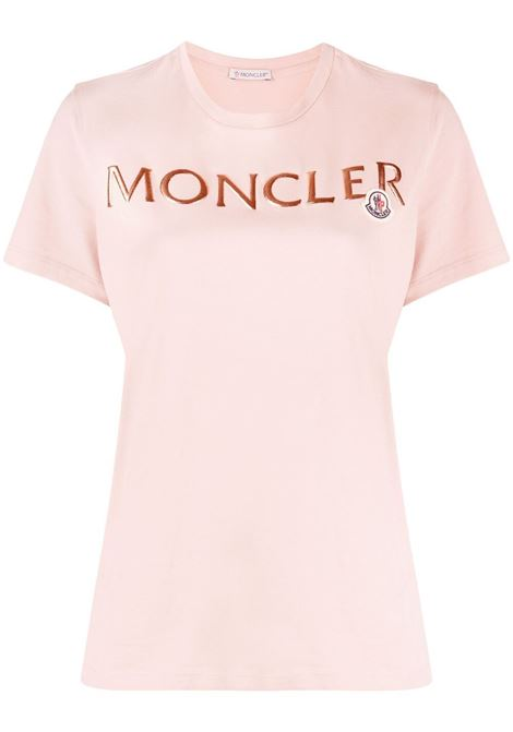 T-shirt rosa in cotone con lettering rosso Moncler MONCLER | T-shirt | 8C715-10-V8094510