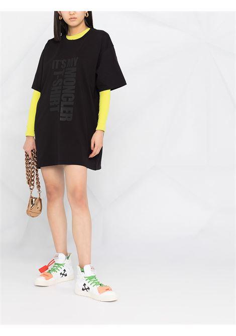 t.shit lunga in cotone nero con scollo tondo MONCLER | T-shirt | 8C7A2-10-829HP999