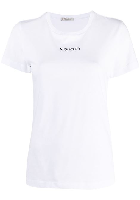 White cotton Moncler embroidered logo T-shirt   MONCLER |  | 8C7A6-10-829FB001