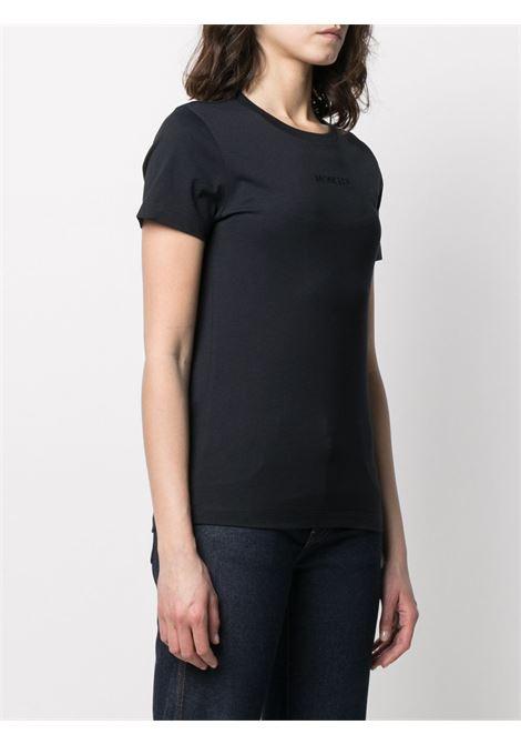 T-shirt in cotone blu con logo Moncler ricamato MONCLER | T-shirt | 8C7A6-10-829FB778