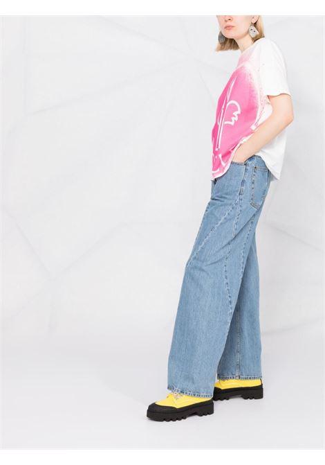 T-shirt in cotone bianco e fuxia con maxi stampa Moncler MONCLER | T-shirt | 8C7B3-10-829FB085
