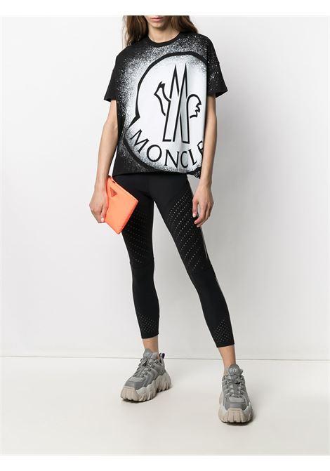 Black and white cotton T-shirt featuring maxi Moncler logo print  MONCLER |  | 8C7B3-10-829FB088