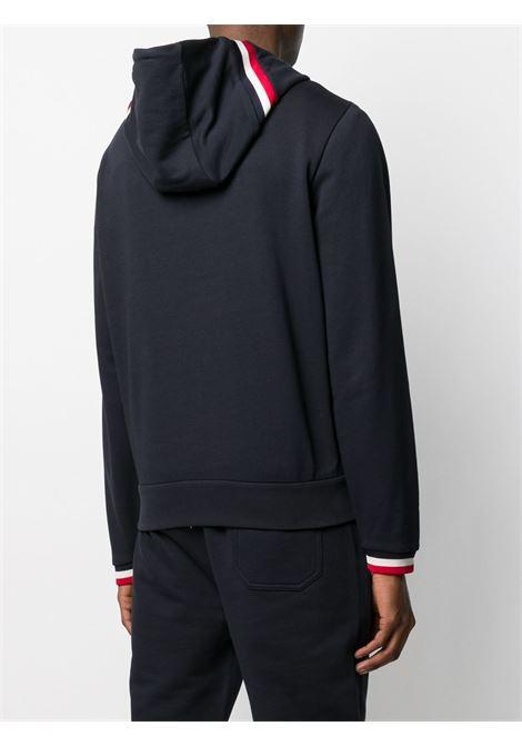 felpa con zip blu e polsini a contrasto bianco e rosso MONCLER | Felpe | 8G742-00-V8007778