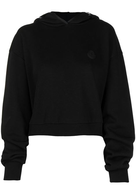 Black cotton cropped hoodie featuring slouchy hood MONCLER |  | 8G787-10-809LC999