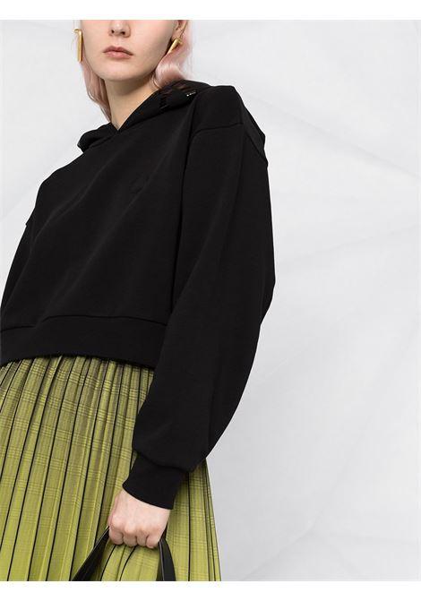 Felpa corta in cotone nero con cappuccio e logo Moncler stampato sul retro e sul davanti MONCLER | Felpe | 8G787-10-809LC999