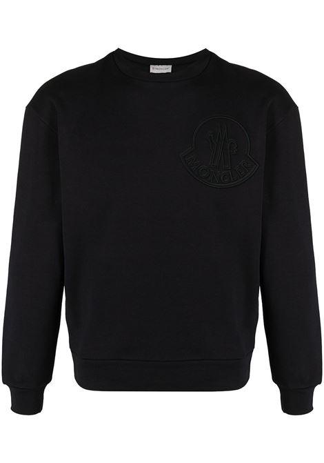 Felpa nera in cotone con logo Moncler ricamato, collo girocollo MONCLER | Felpe | 8G7A6-10-809LA778