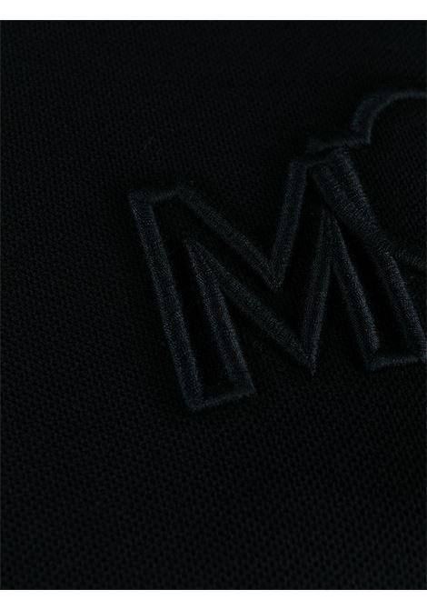 Abito midi a manica corta in cotone blu navy con logo Moncler ricamato sul petto MONCLER | Abiti | 8I723-10-84720778