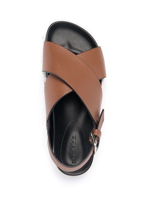 Brown calf leather crossover-strap leather sandals  P.A.R.O.S.H. |  | D070155-FUSHOE066