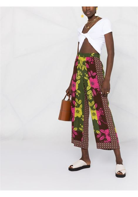 Green silk Safix silk trousers featuring all-over floral print P.A.R.O.S.H. |  | D231009-SAFIX807