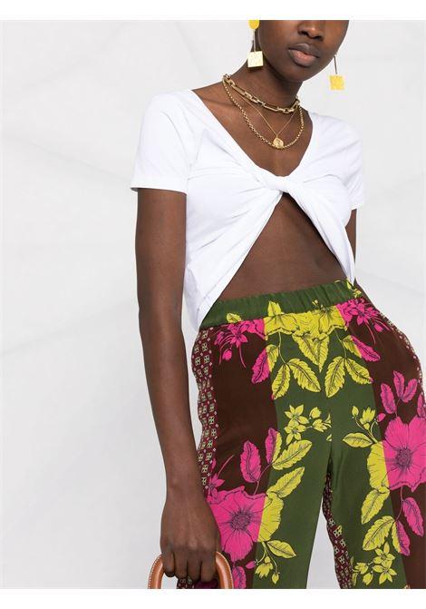 Pantaloni in seta Safix verde con stampa floreale all-over P.A.R.O.S.H. | Pantaloni | D231009-SAFIX807