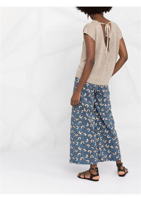 pantalone a gamba larga in cotone blu con stampa floreale P.A.R.O.S.H. | Pantaloni | D231458-CLEPTO846