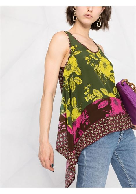 Multicolour silk V-neck panelled tank top  P.A.R.O.S.H. |  | D311293-SAFIX807