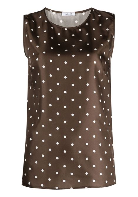 Chocolate brown silk polka-dot sleveless blouse  P.A.R.O.S.H. |  | D312010-SIPO808