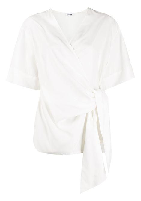 White silk wraparound-style V-neck silk top  P.A.R.O.S.H. |  | D312014-SEITAN002