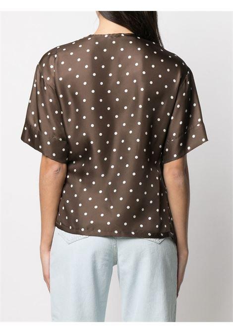 Blusa a portafoglio in seta a pois di seta marrone bordeaux con scollo a V P.A.R.O.S.H. | Camicie | D312014-SIPO808