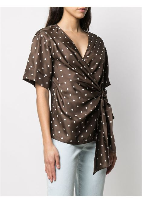 Maroon brown silk polka-dot wrap silk blouse featuring V-neck P.A.R.O.S.H. |  | D312014-SIPO808
