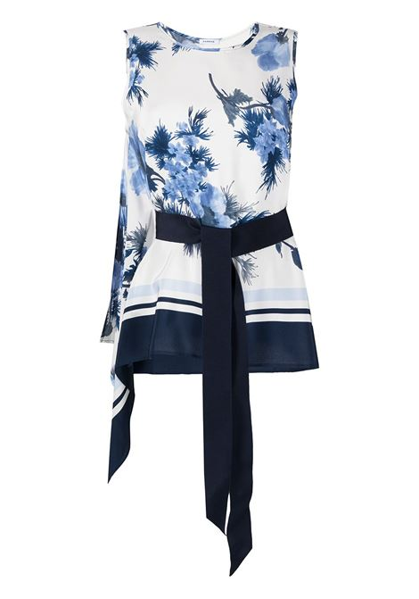 White and navy blue silk floral-print blouse  P.A.R.O.S.H. |  | D312216-SEBLU812