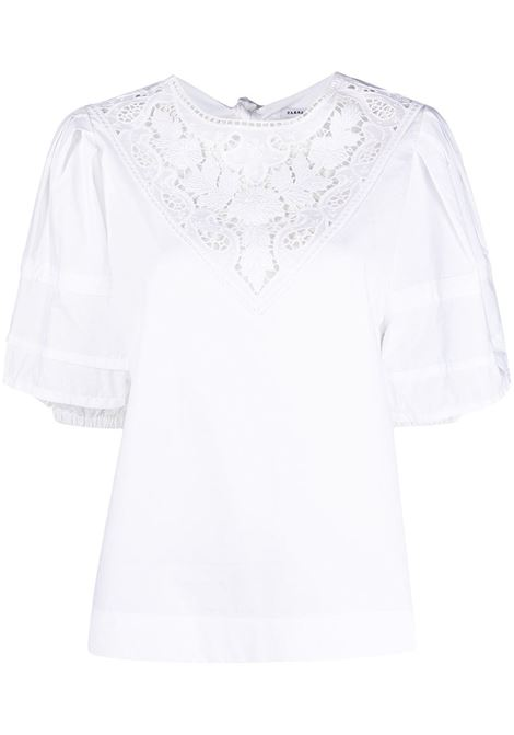 White cotton lace-panel blouse featuring lace detailing P.A.R.O.S.H. |  | D312224-CANYOX001
